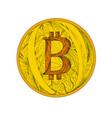 bitcoin doodle art vector image