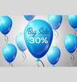 blue balloons with an inscription big sale thirty vector image vector image