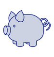 blue silhouette of piggy bank vector image vector image
