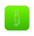 businessman holding briefcase icon green vector image
