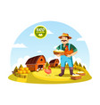 cartoon farmer man holding eggs and hen vector image vector image