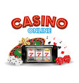 casino online smartphone with dice card roulette vector image