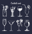 cocktail card hand sketched alcoholic beverages vector image vector image