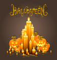 cover halloween pumpkin and candles vector image vector image