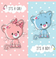 cute kittens boy and girl vector image vector image