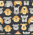 cute puppy heads pattern on a dark background vector image vector image