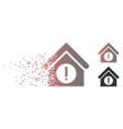 destructed pixel halftone danger building icon vector image vector image