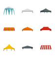 event tent icon set flat style vector image