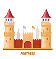 fortress castle medieval palace with fort towers vector image vector image