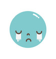 full color kawaii head with cute crying face vector image