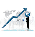 Globe headed man standing in abstract business vector image