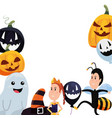 halloween boy and girl with costumes balloon vector image