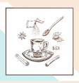 hand drawn coffee cup poster design vector image