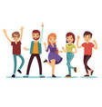 happy smilling dancing young persons at christmas vector image vector image