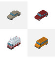 isometric automobile set of auto autobus first vector image vector image