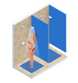 isometric showers in the gym in a row shower with vector image