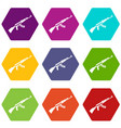 kalashnikov machine icon set color hexahedron vector image vector image