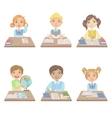 Kids Behind the Desks In School Set vector image vector image