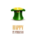 Leprechaun hat filled with gold Saint Patricks vector image vector image
