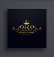 letter r logo with golden crown and floral vector image