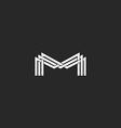 M letter monogram logo black and white mockup vector image vector image