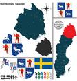 Map of Norrbotten vector image vector image