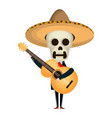 mexican mariachi skull character with guitar vector image vector image