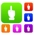 middle finger hand sign set color collection vector image vector image
