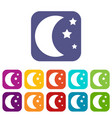 Moon and stars icons set