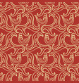 ocean waves seamless pattern red and gold colors vector image