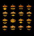 orange 3d halloween pumpkins set vector image