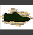 oxford dark green classic lace-up shoes on a vector image