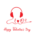 Red headphones Happy Valentines day card vector image vector image