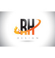 rh r h letter logo with fire flames design and vector image vector image