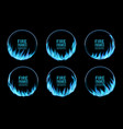 round frames blue gas fire flame burning rings vector image vector image