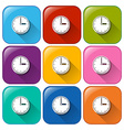 Rounded icons with clocks vector image