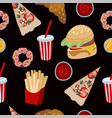 seamless pattern with fast food such as hamburger vector image