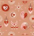 seamless pattern with love boho elements vector image vector image