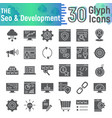 seo and development glyph icon set vector image vector image