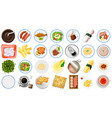 set food aerial view vector image vector image