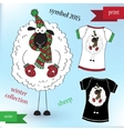Sheep in winter hat Graphic T- shirt design print vector image vector image
