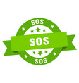 sos ribbon sos round green sign sos vector image vector image