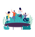 trampoline jumping young happy people jump teens vector image vector image
