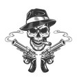 vintage monochrome killer skull smoking cigar vector image vector image