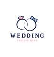 wedding logo cute wedding ringsstylized vector image