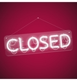 White Glowing Neon Closed Sign vector image
