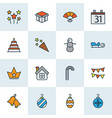 year icons colored line set with bunting house vector image vector image