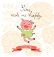 You make me happy romantic card with cute jumping vector image vector image