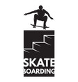 skateboarder athlete in jump as a badge on the vector image