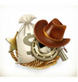Cowboy Adventure Game logo 3d emblem vector image